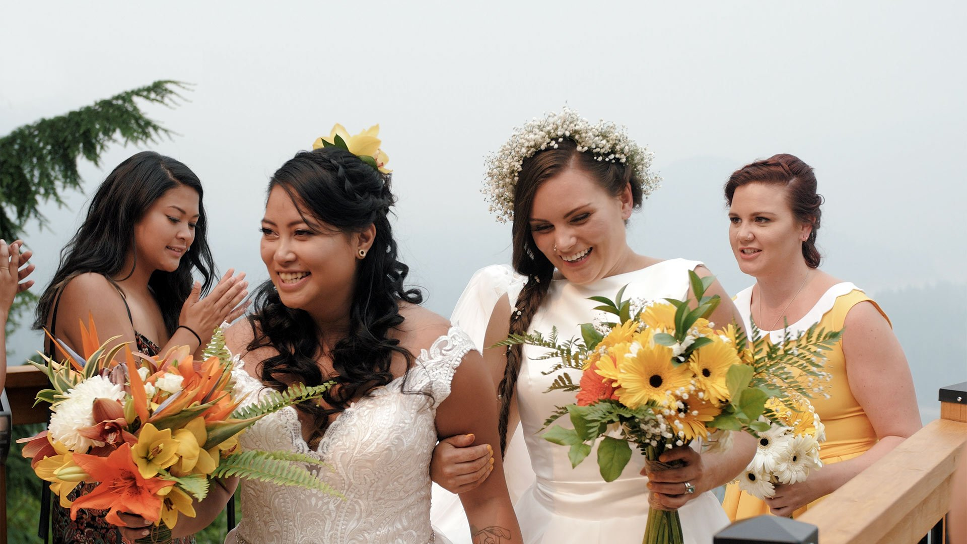 same sex wedding at american creek lodge by toronto wedding videographer kismet creative