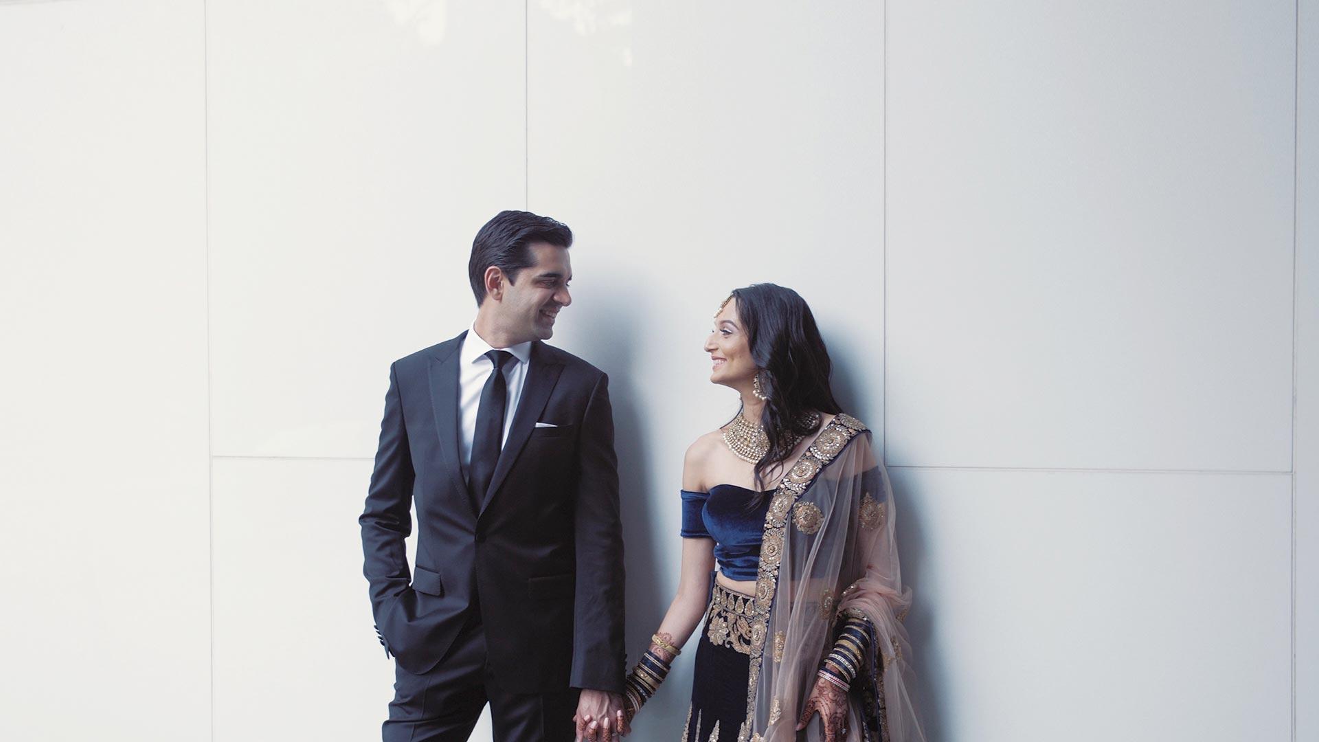 South Asian couple at their palais Royale and Gardiner museum wedding toronto
