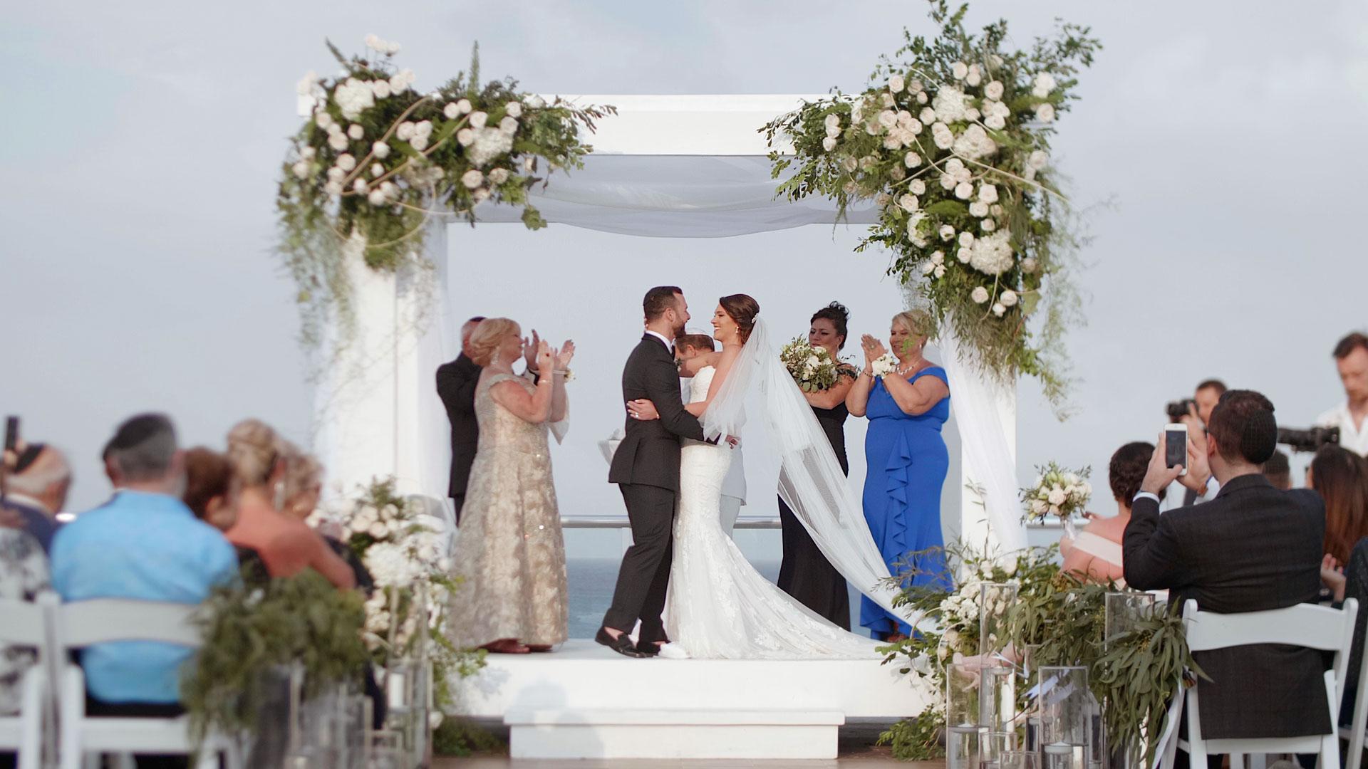 Jewish ceremony at Azul Fives, Playa-del-Carmen wedding videography by kismet creative