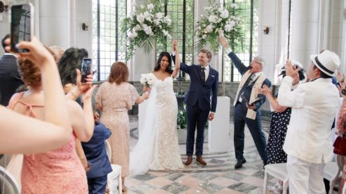 couple celebrate at their casa loma wedding toronto