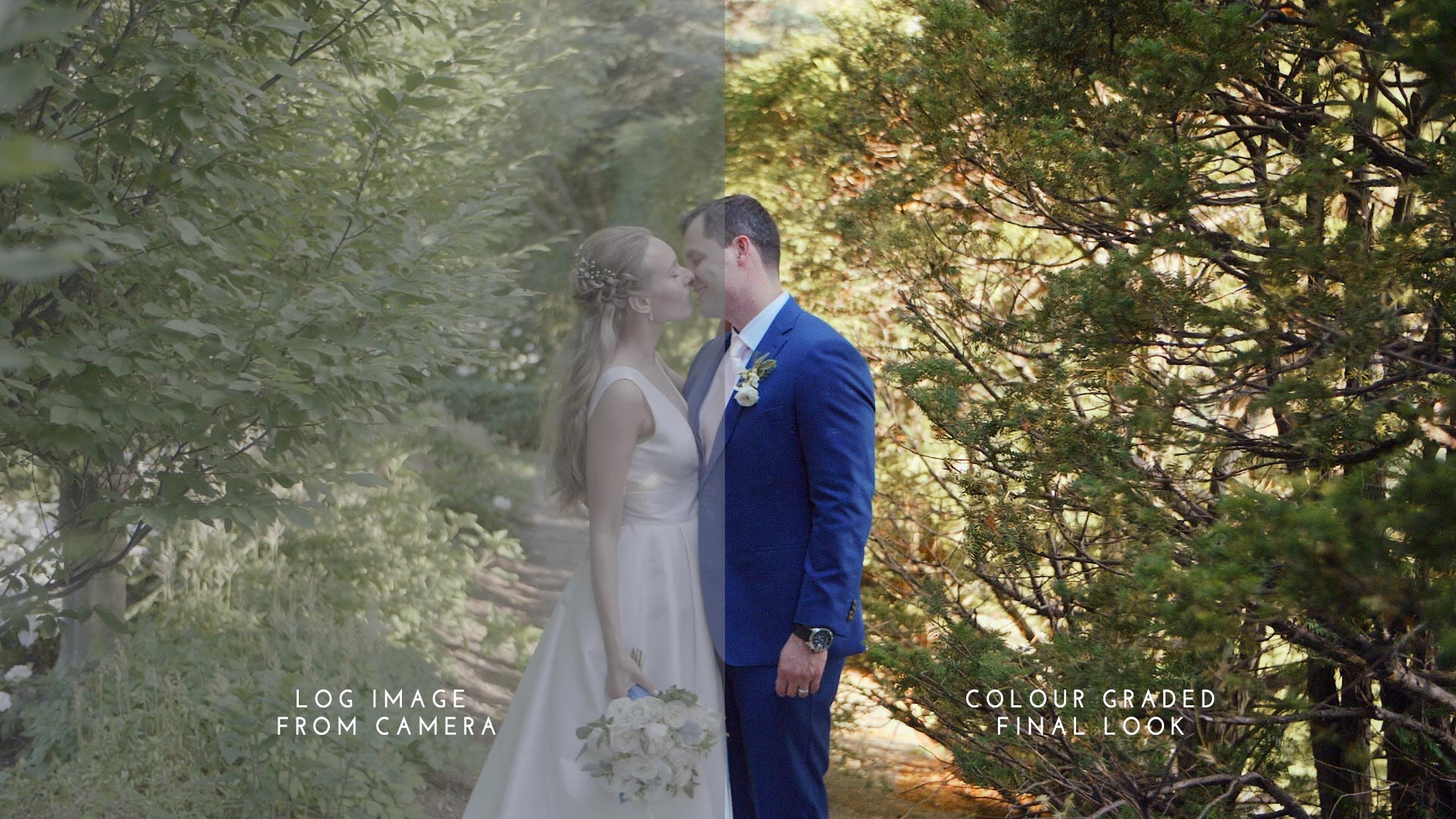 How to edit the best wedding videos. Visual comparison of Log versus graded final look