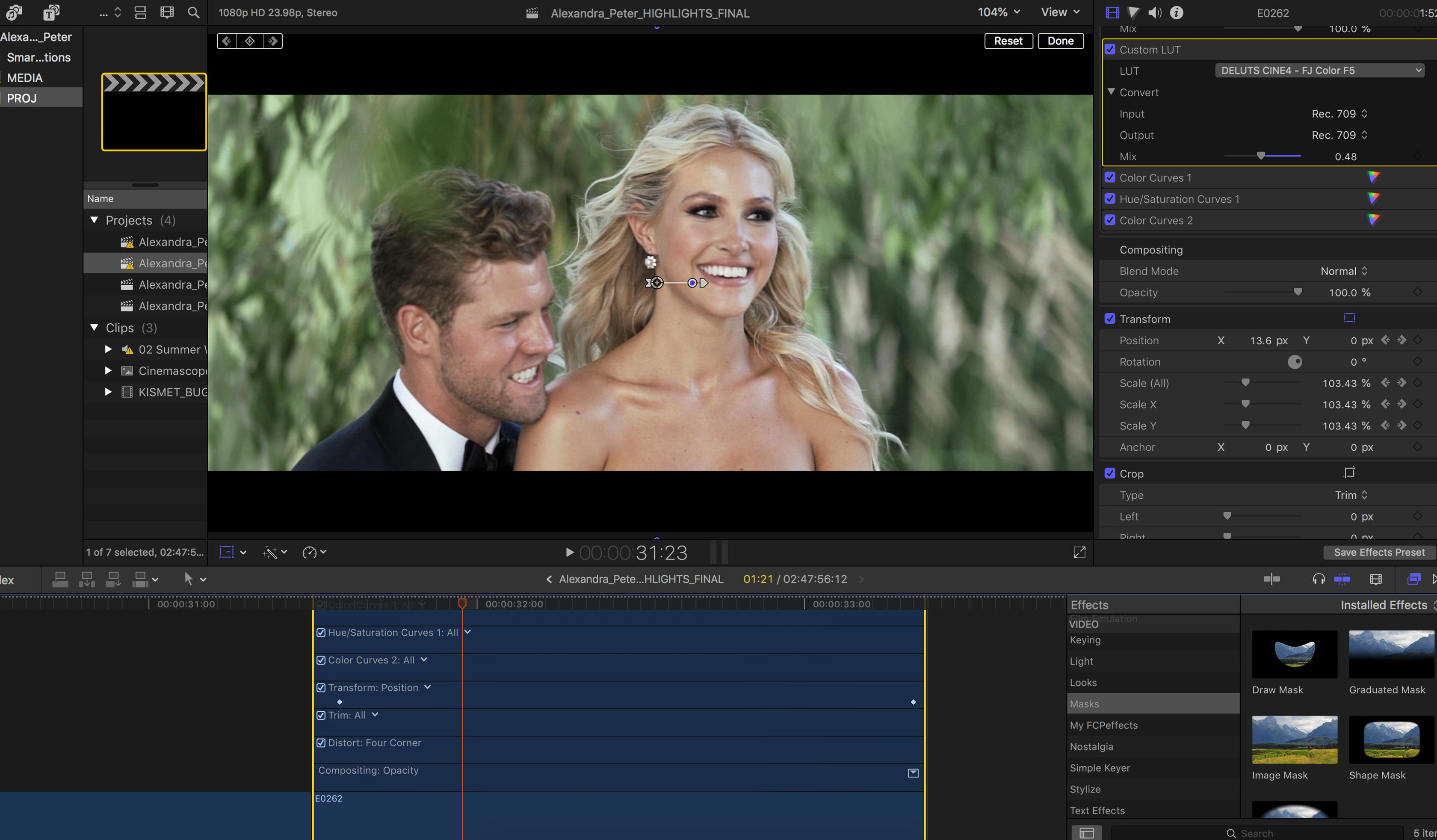 How to edit the best wedding videos. Screenshot of keyframe animation in final cut pro x