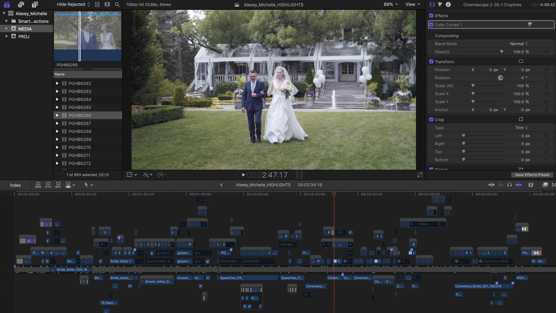 How to edit the best wedding videos. Screenshot of assembly timeline in final cut pro x
