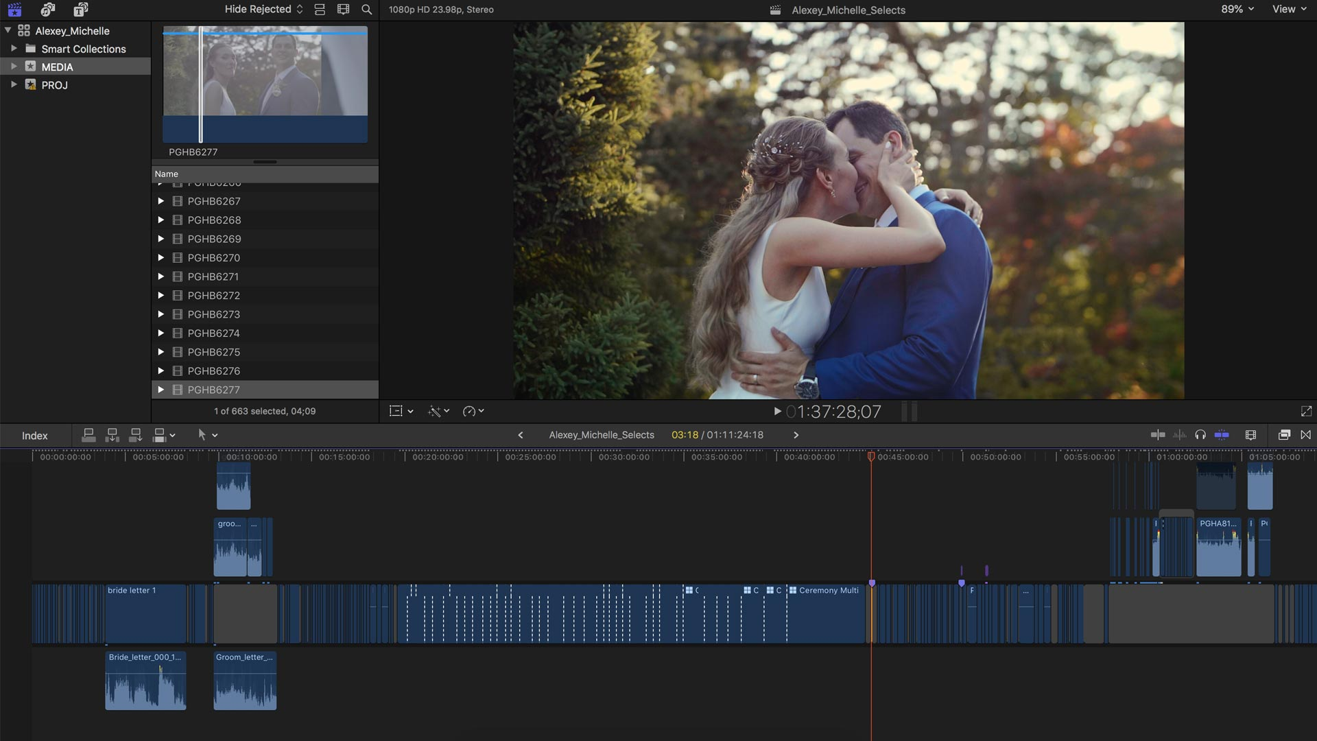 How to edit the best wedding videos. Screenshot of selects timeline in final cut pro x