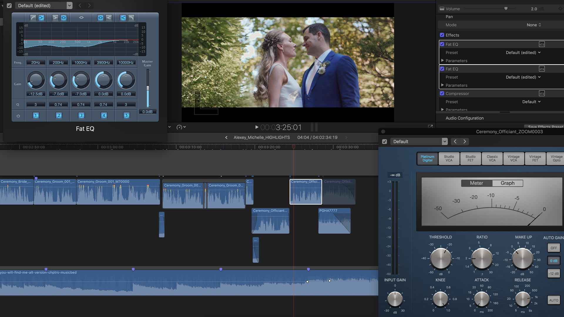 Audio Mixing in Final Cut Pro X. Show EQ and Compression being applied