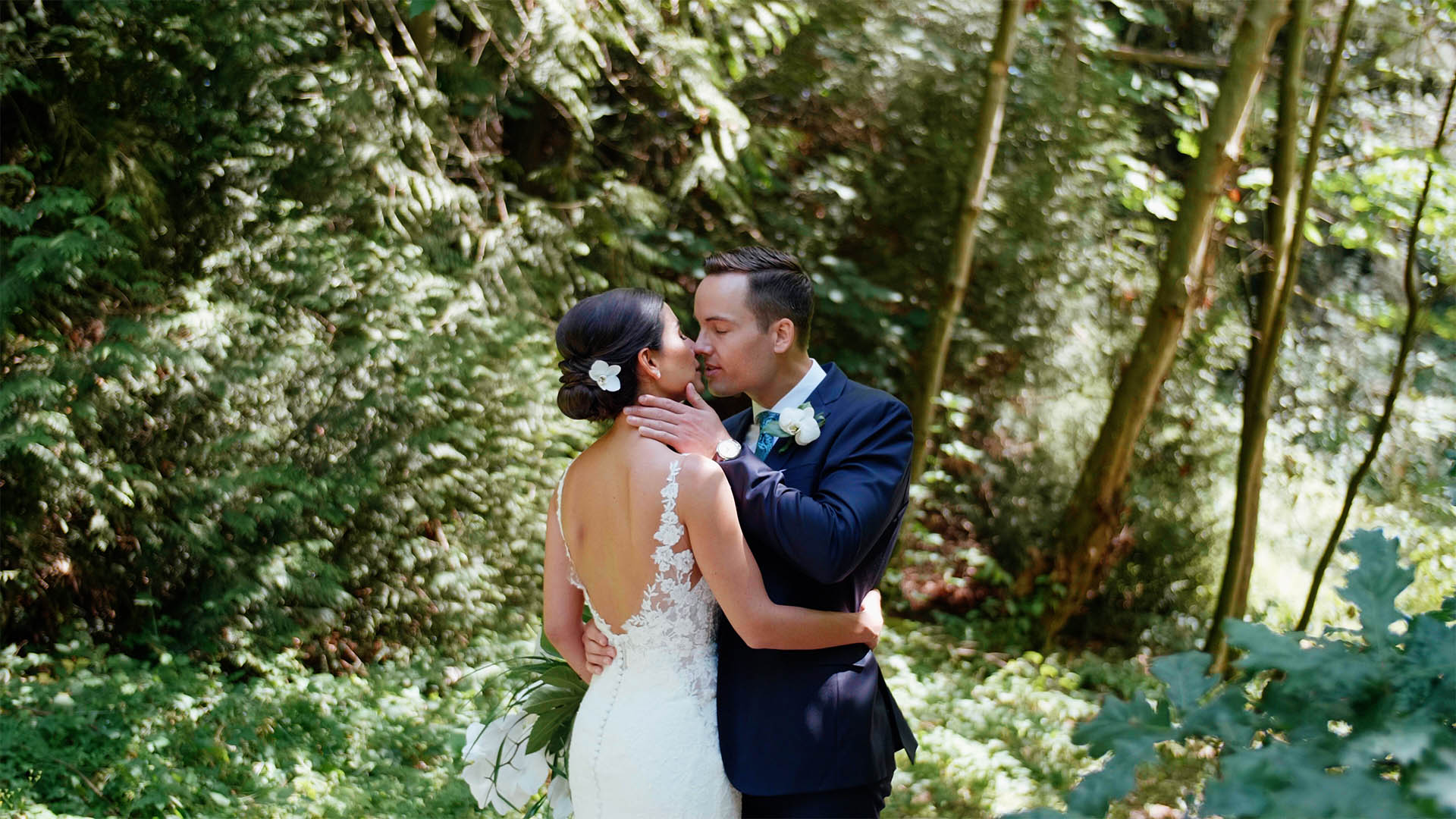 couple kissing during their Shaughnessy Golf Club wedding video Vancouver