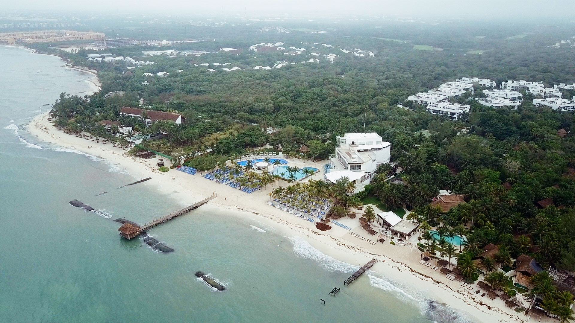aerial view of Azul fives resort playa del carmen by destination wedding videographer kismet creative