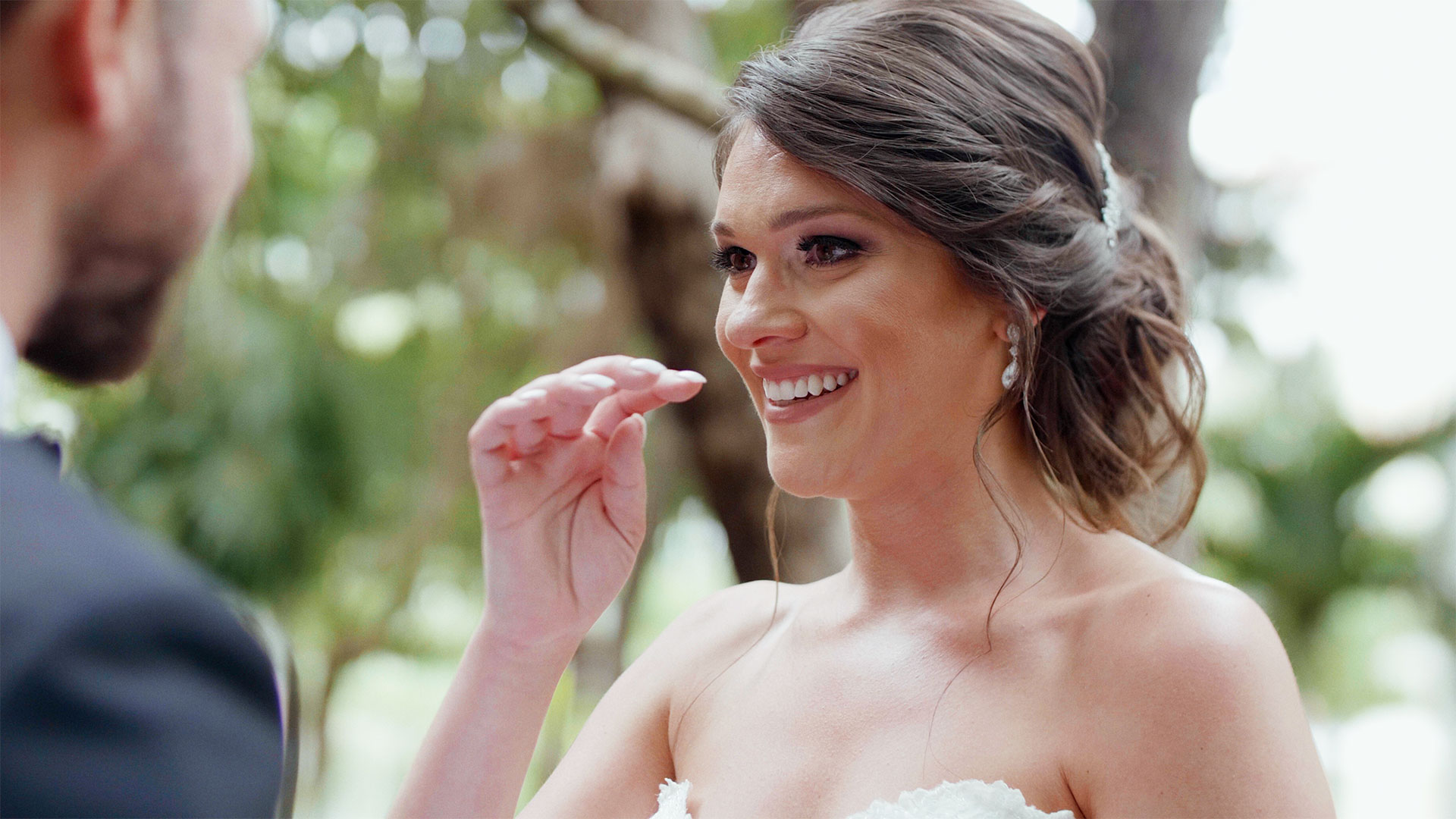 Bride cries during her Playa Del Carmen Wedding at Azul Fives by destination wedding videographer kismet creative