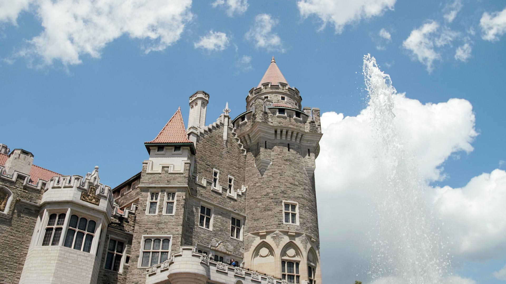 Looking up at the turrets of Casa Loma in Toronto