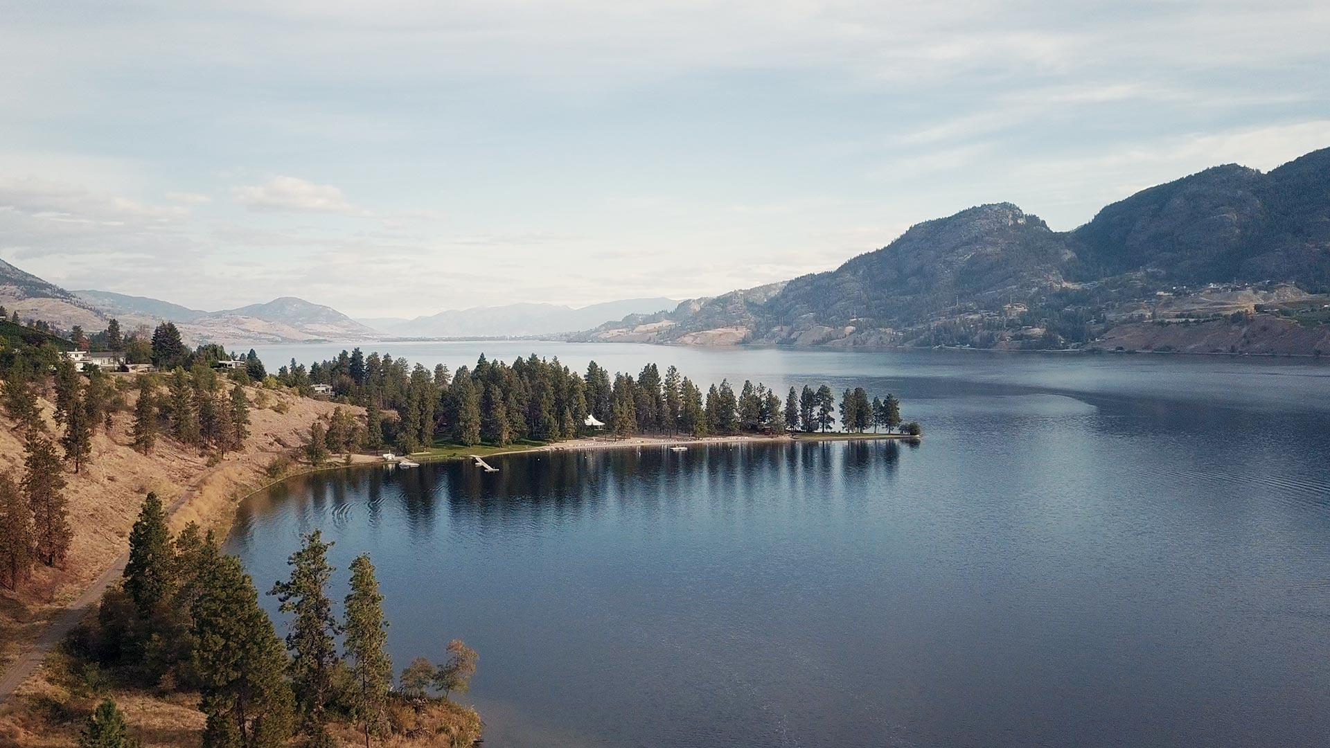 aerial view of ponderosa point by Penticton wedding videographer kismet creative