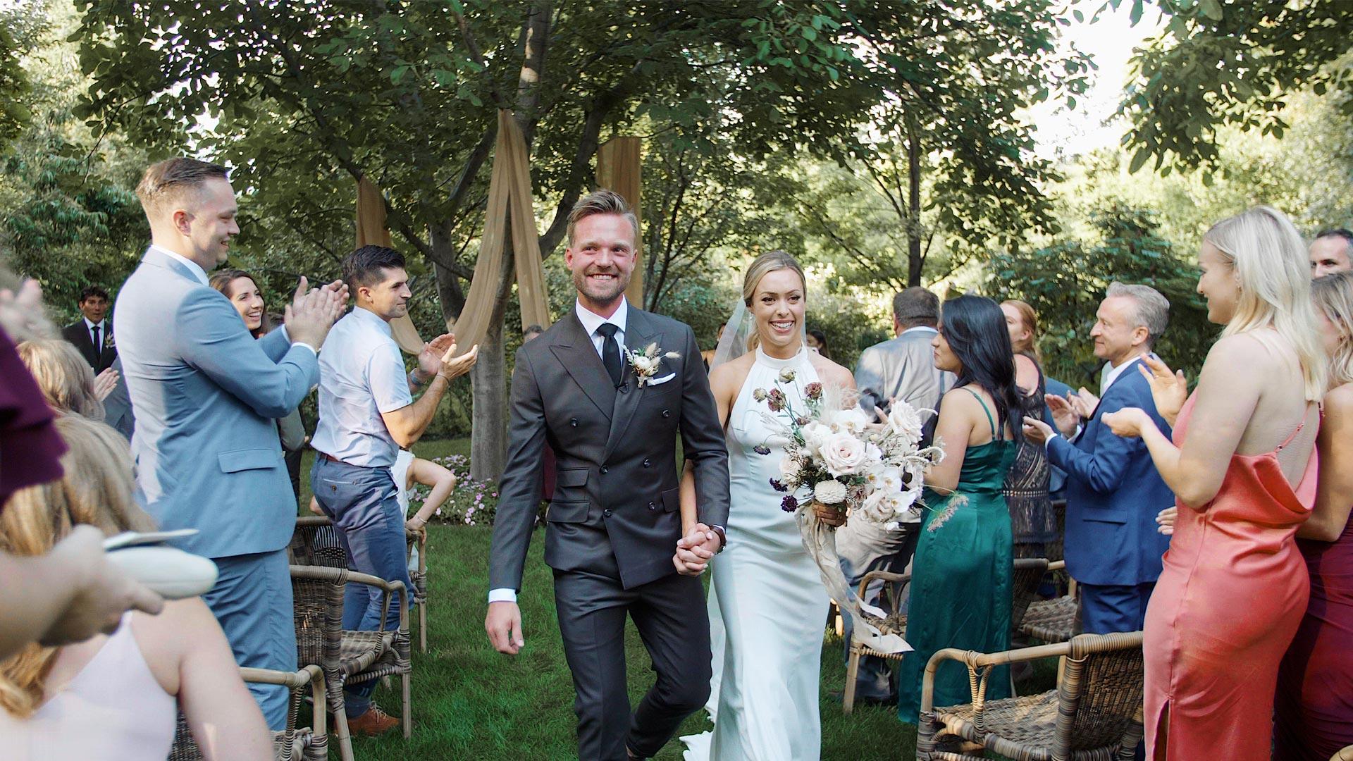 procession at an Linden Gardens Wedding by Okanagan Wedding Videographer Kismet Creative