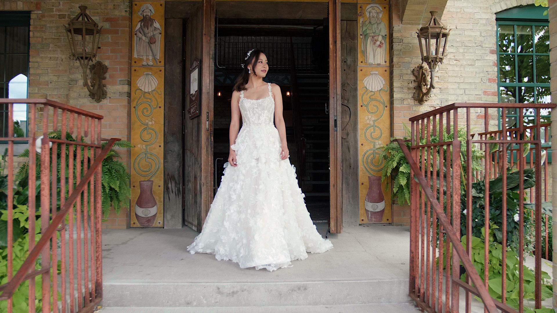 bride walks to meet her groom at their hacienda sarria wedding