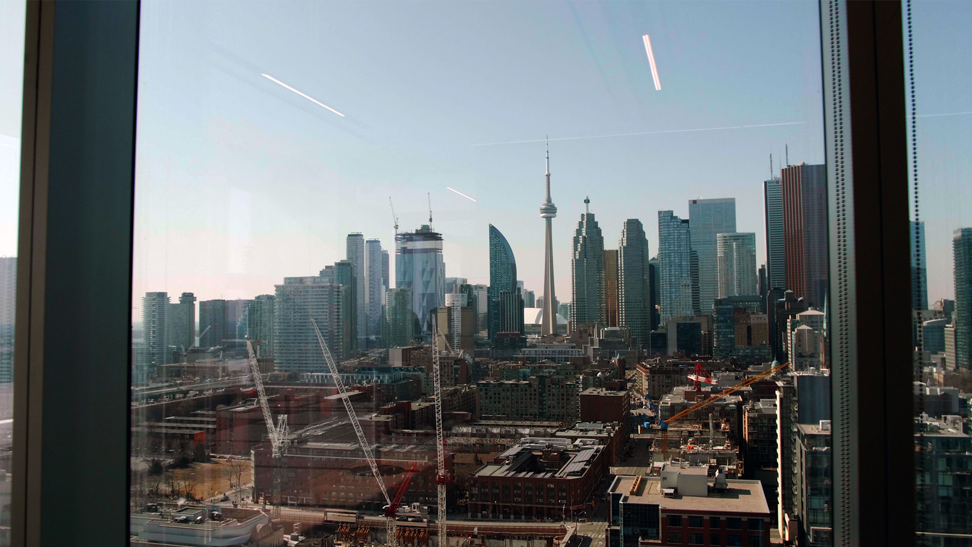 Toronto skyline view from the globe and mail centre wedding venue