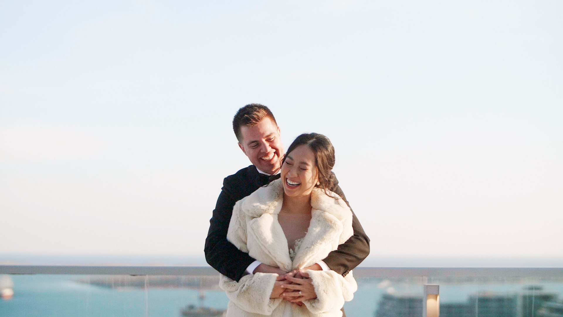 couple laughing at their globe and mail centre wedding by toronto wedding videographers kismet creative