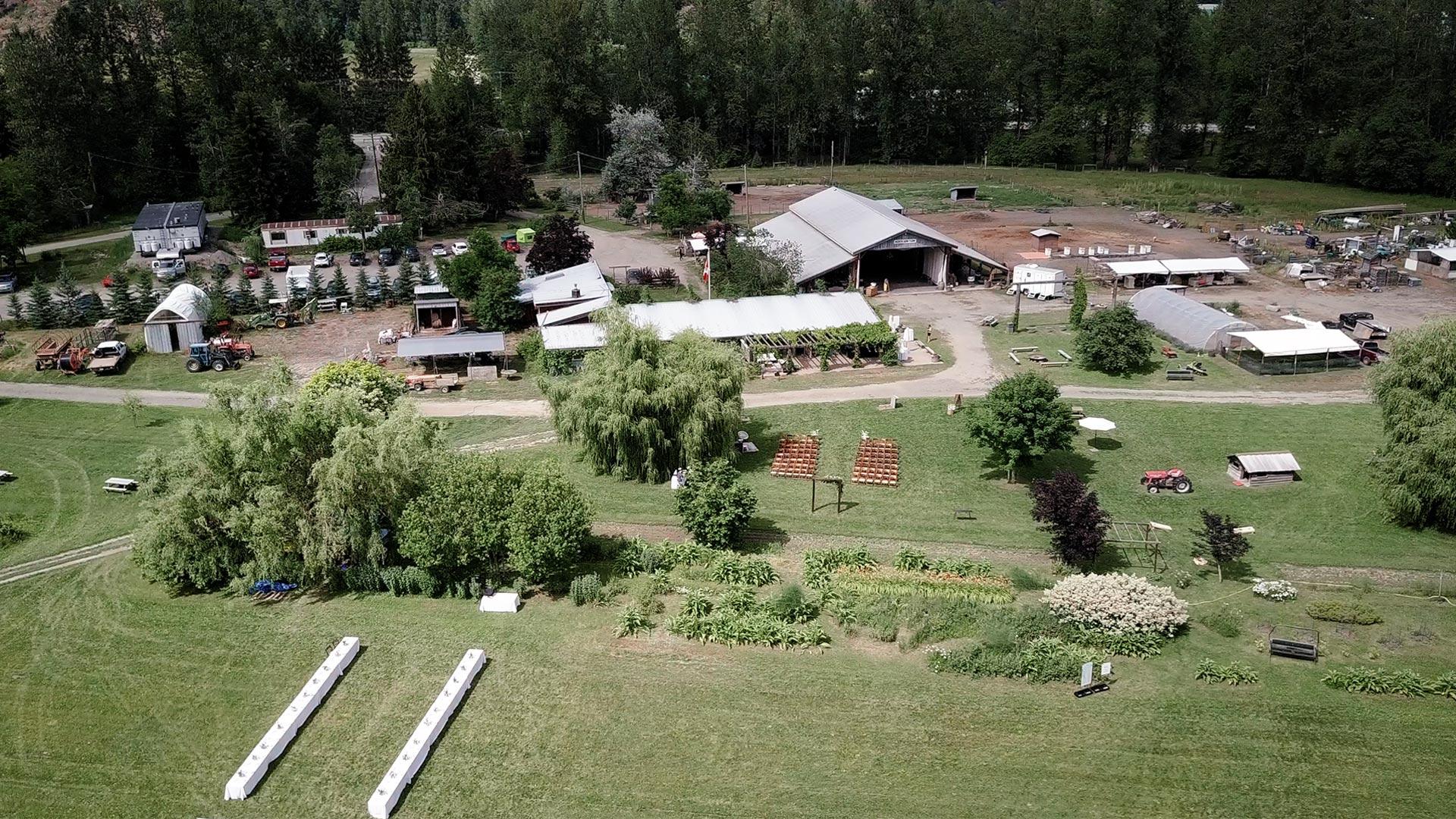 Aerial videography of a North Arm Farm Wedding