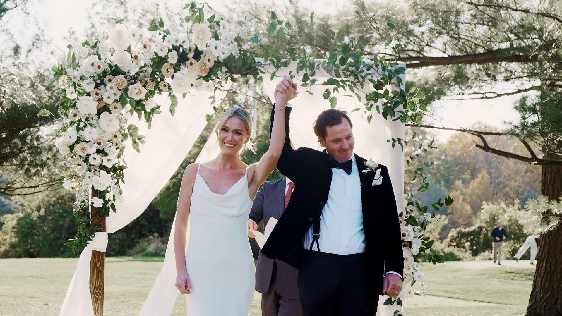 bride and groom celebrate at their toronto golf club micro wedding