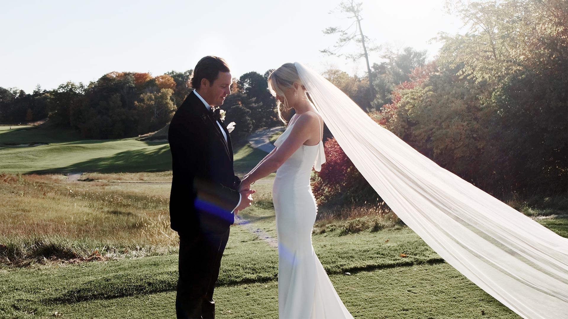 Bride and groom at their Toronto Golf Club micro wedding
